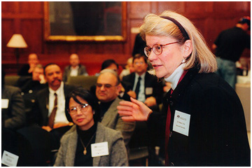 Diana Eck welcomes participants to a symposium at Harvard University on civic society and multireligious America. Photo: Harvard University Pluralism Project