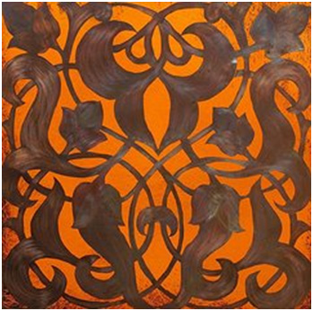 """Arabesque Window Passage"" (copper illumination) from the series Window Passages by Shahna Lax of Studio Moresca."