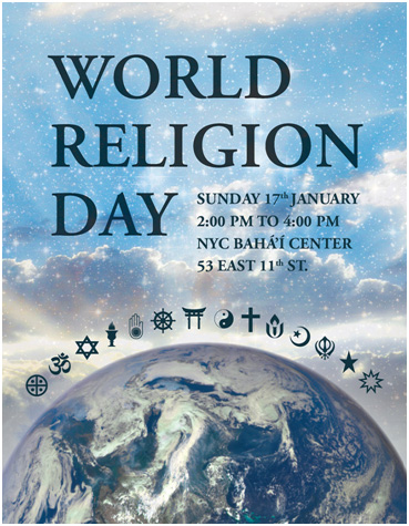 World Religion Day is celebrated around the world. Here is a poster for this year's event in New York City. – Photo: Interfaith Center of New York.