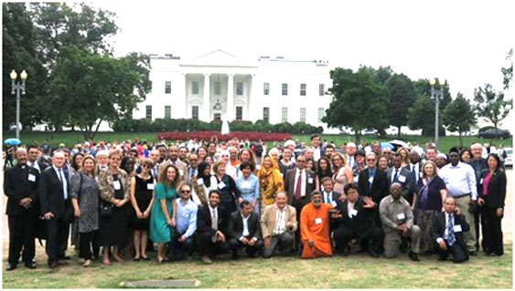 A group photo of the International Higher Education Interfaith Leadership Forum (IHEILF), held on September 9, 2015, in preparation for the Fifth Challenge Gathering. – Photo: Bud Heckman