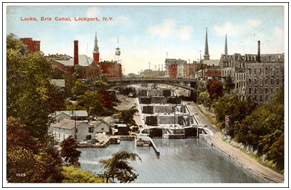 The Erie Canal locks cut through Lockport , New York in this postcard from the early 20th century. – Photo: emptycache