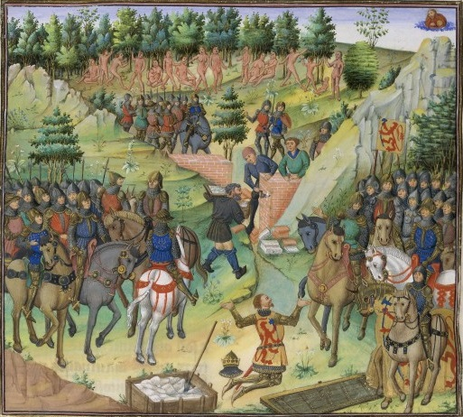 "The people of Gog and Magog being walled off from the rest of the world by Alexander's forces, from Jean Wauquelin's 15th century ""Book of Alexander."" – Photo: Wikipedia"