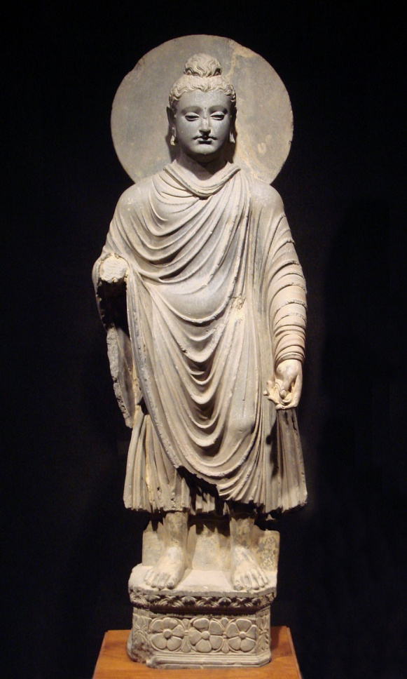 This Gandhara Buddha statue (1st-2nd century CE) is an example of what is now called Greco-Buddhist art. – Photo: Wikipedia