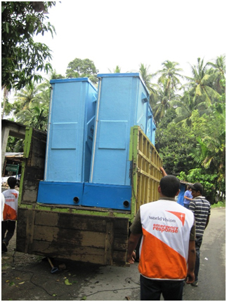 World Vision, a faith-based organization, delivers portable toilets to a school during a crisis. – Photo: Wikipedia
