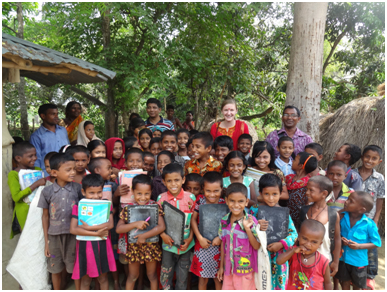 Kendra Layton, standing in the rear, is a senior at Georgetown who visited Dhaka, Bangladesh last year in a Berkley Center research project. – Photo: Berkeley Center