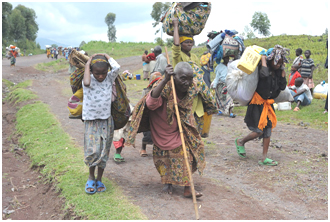 Fleeing refugees, these from the Democratic Republic of the Congo, taken in 2008, are among the most vulnerable in the world. – Photo: Wikipedia, Julien Harneis