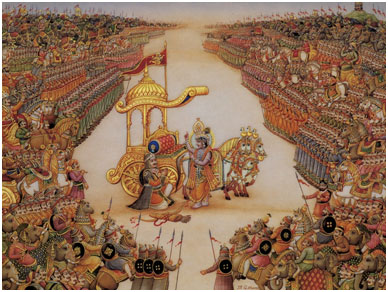 In the Gita, Arjuna, a warrior, and his charioteer – who turns out to be Lord Krishna – talk on the battlefield as armies prepare to fight. – Photo: Google Images