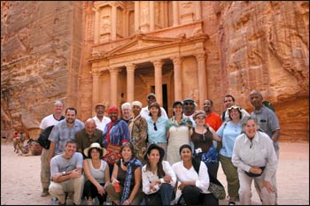 A World Pilgrims tour stops for a group photo at Petra, in Jordan.