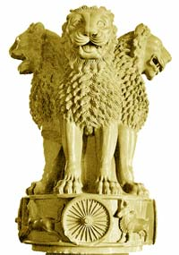 "The  four-headed ""Ashoka Lion Capital,"" originally placed on  Ashoka's pillar in Sarnath (in today's Uttar Pradesh), was adopted by India's national emblem."