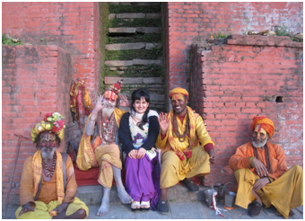 The author with priestly friends at the Pashupatinath Temple in Katmandu