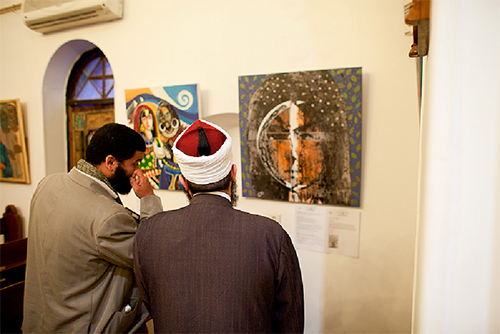 Imams in Cairo at the 2013 Exhibition of Visual Art.