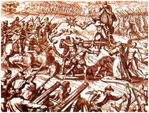 The Inca-Spanish confrontation in the Battle of Cajamarca in 1532 left thousands of natives dead. – Graphic: Wikipedia