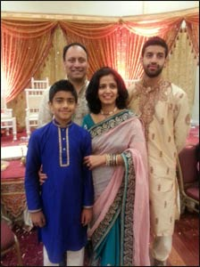 The Acharya family at a wedding.