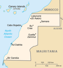 A map of Sahrawi Arab Democratic Republic on the northwest coast of Africa. – Photo: Wikipedia