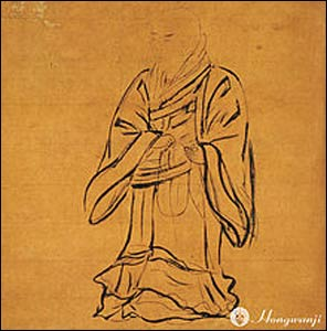 A portrait of Shinran, the founder of the Jōdo Shinshū school of Pure Land Buddhism, located at Nishi Honganji, Kyoto. – Photo: Wikipedia