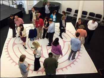 Walking the labyrinth at the Religious Diversity Leadership Workshop – Photo: Claudia Ramisch
