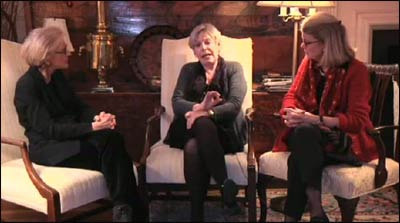Dorothy Austin (l.) and Karen Armstrong join Diana Eck at Harvard University's Pluralism Project to talk about the practice of compassion. – Photo: Vimeo