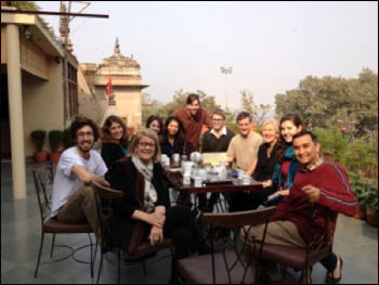 Professor Eck with students studying the Kumbh Mela in India, 2013. – Photo: Mapping the Mela