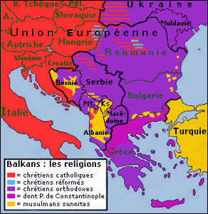 A French map indicating the different religions in the Balkans. – Graphic: Wikipedia