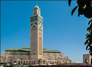 The Hassan II Mosque in Casablanca, the largest in Morocco – Photo: Wikipedia