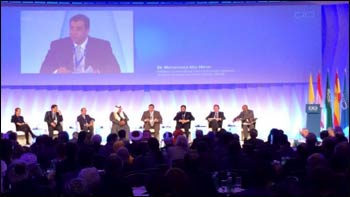 Mohammad Abu-Nimer addressing the KAICIID Global Forum in Vienna last month. – Photo: Bud Heckman