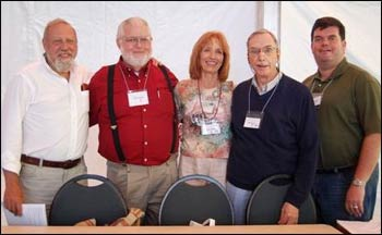 Chuck, NAIN's first chair, stands with some of the chairs who followed in his footsteps (from the l.) Peter Laurence, Kay Lindahl, Don Mayne, and Mike Goggin. – Photo: NAIN