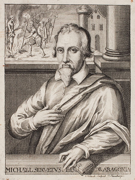 This etching was created by Christian Fritzsch in the 18th century, more than a hundred years after Servetus' execution, which dominates the upper left of the portrait. – Photo: Wikimedia