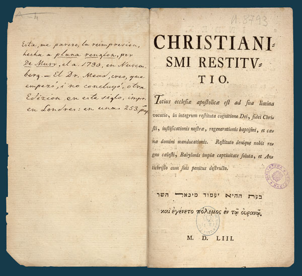 Christianismi Restitutio – Photo:  Skinner House Books
