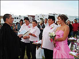 In the spirit of this story, instead of another photo of Westboro Baptist's outrageous protests, here is a photo of a 2007 same-sex wedding in South Africa. – Photo: Wikipedia