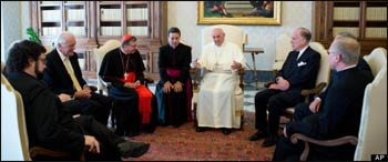 "At a meeting with Pope Francis, Ronald Lauder (sitting to the Pope's left) said ""Never in the past 2,000 years have relations between the Catholic Church and the Jewish people been so good."" – Photo: Huffington Post"