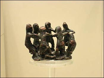 Women dancing, Greek bronze, 800 BCE -  Archaeological Museum of Olympia