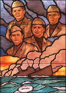 This stained glass window in the Pentagon Chapel commemorates four chaplains from different religious traditions (Catholic, Methodist, Reformed and Jewish) who died while assisting soldiers on the torpedoed USS Dorchester in 1943. Rita Sherma envisions the day when Hindu chaplains play an important role in everyday American life.