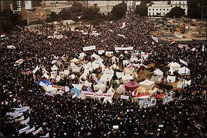 Demonstraters in Tahir Park, Cairo, November 2011 – Photo: Wikipedia