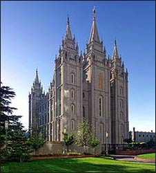 The Salt Lake Temple of the Church of Jesus Christ Latter Day Saints in Salt Lake City, Utah.