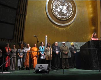 Interfaith prayers were offered at the U.N. General Assembly hall on World Harmony Day this year.