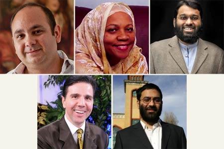 Clockwise from top left: Professor Ehab Abouheif, Professor Fatimah Jackson, Shaykh Yasir Qadhi, Dr. Oktar Babuna, Dr. Usama Hasan