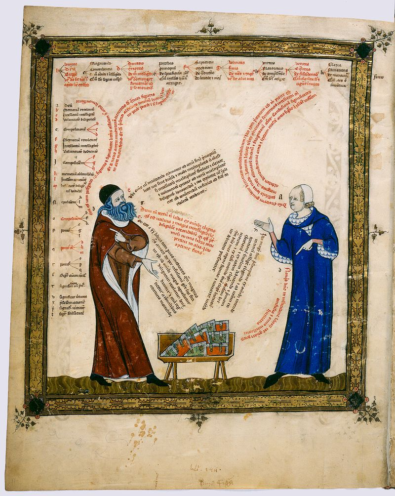 Painting by Thomas le Myésier of a theological discussion between Ramon Llull and the artist – Photo: Wikimedia, Badische Landesbibliothek, Cod. St. Peter perg 92, Blatt 11v