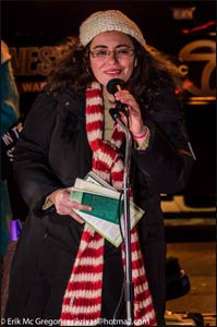 Sahar Alsahlani, Executive Council member of Religions for Peace USA, speaks at the #LightforLima vigil in NYC.