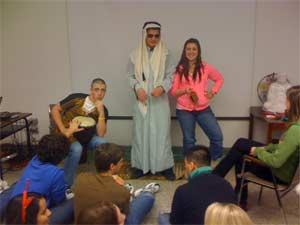 Learning about Arab dress.