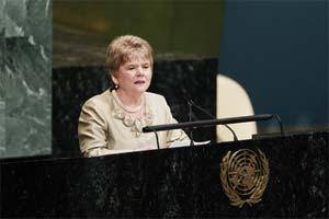 Monica Willard speaking at the U.N.