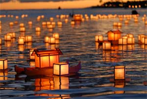 Floating Latterns at the Memorial Day 2012 celebration in Hawaii, organized by Shinnyo-en each year.