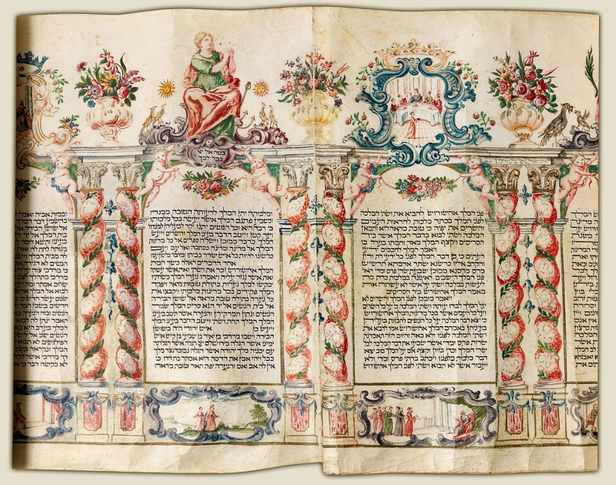 This 1750 manuscript, called the Esther Scroll or megilla, tells Queen Esther's story as recorded in Jewish and Christian scripture. – Photo: Wikipedia, public domain