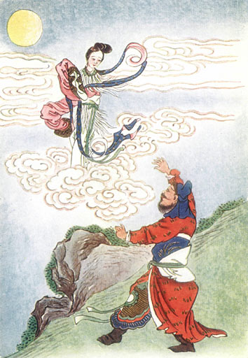 Chang'e, Chinese Moon goddess, flies to the moon – Photo: Wikimedia,  E.T.C Werner