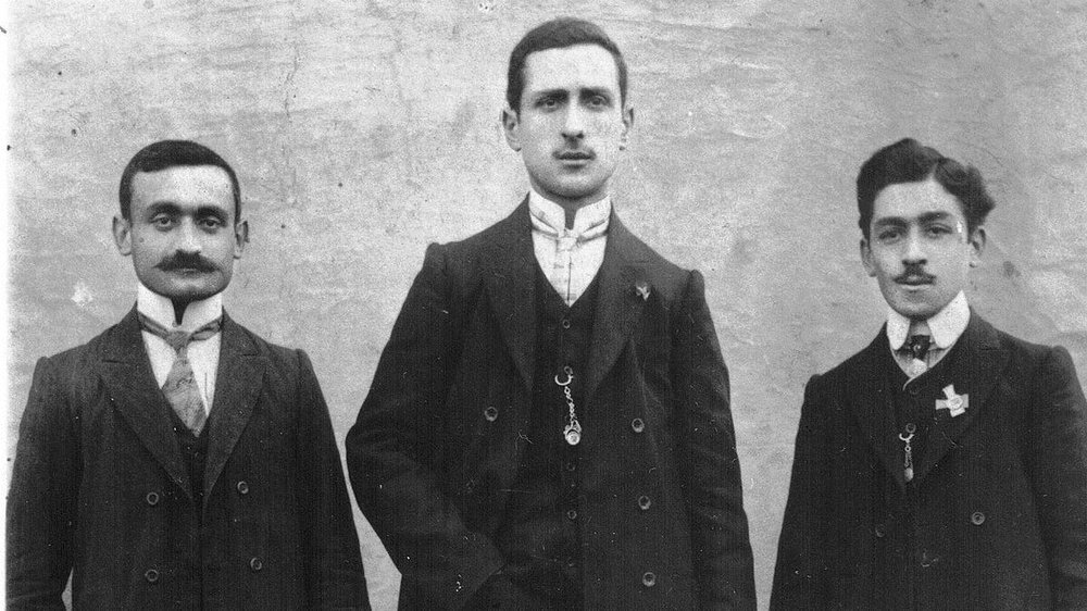 Dawn Anahid MacKeen's grandfather, Stepan Miskjian (left), is pictured with friends around 1910, just a few years before the Armenian genocide. – Photo: Courtesy of Houghton Mifflin Harcourt