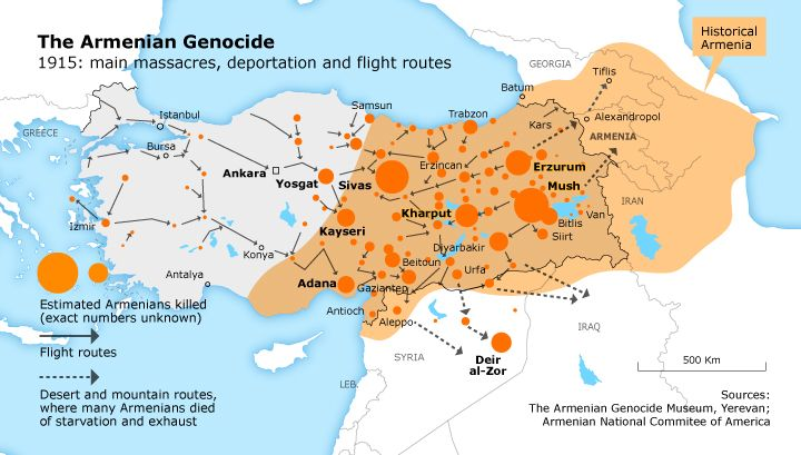 Stepan Miskian's terrifying journey took him from Adabazar, near Istanbul, to a village in Syria near Deir al-Zor – Graphic: The Armenian National Committee of America
