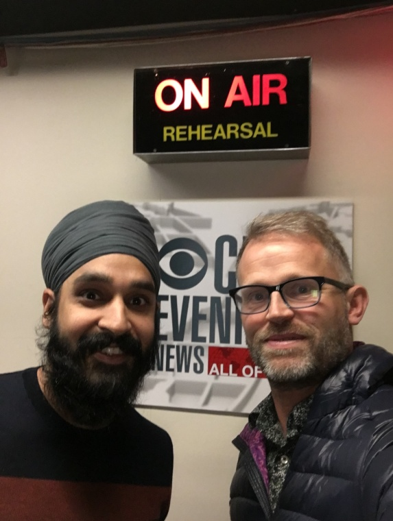 Simran Jeet Singh and Bud Heckman, friends, neighbors, and interfaith activists, at CBS for interfaith work on their Religion and Culture project. – Photo: BH