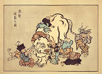 """Blind monks examining an elephant"" by Hanabusa Itchō (1652–1724) – Photo: Wikipedia"