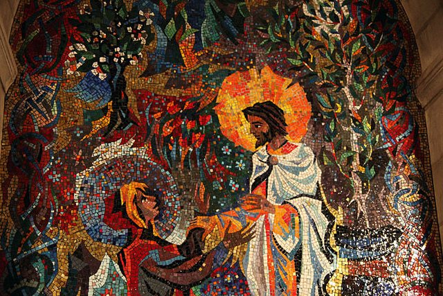 Mary was the first person to witness the resurrection but the disciples didn't believe her testimony because she was a woman –Photo: Mosaic in the National Cathedral in Washington D.C.,  Tim Evanson, C.c. 2.0 sa