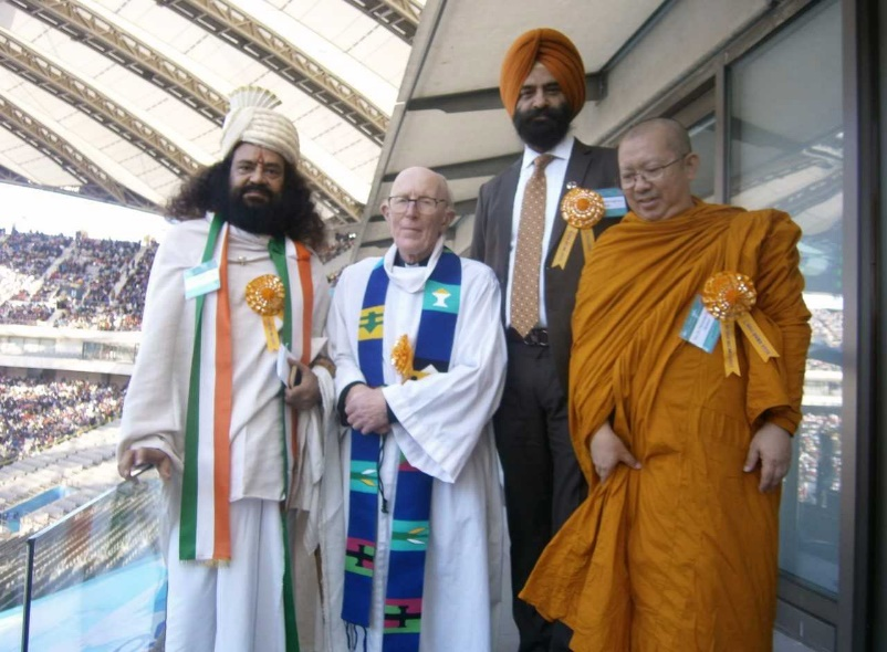 From left, Swami Hari Chaitanya Puri, Marcus Braybrook, Hon. Manjinder Singh, and Ven. Dr Phramah Nopadol Saisuta. All spoke at the peace rally in Korea. – Photo: MB