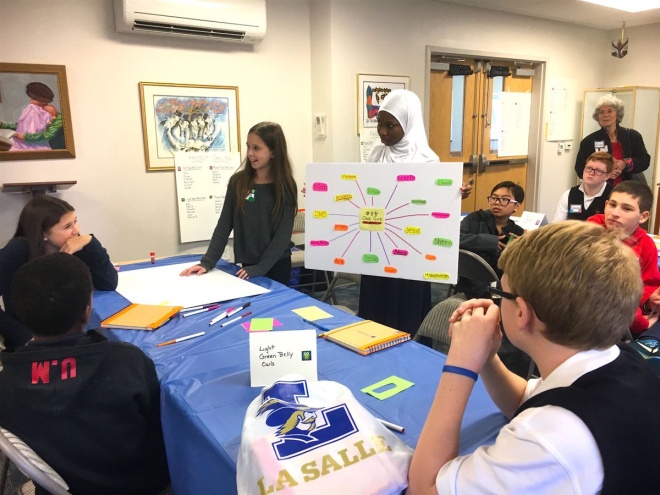 Students in the pilot interfaith writing program for eighth graders – Photo: Andrea Cantor, Philadelphia Weekly.